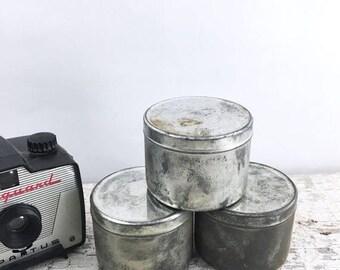 SUMMER SALE 3 Vintage Metal Film Canisters