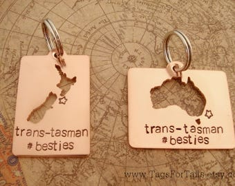 Cutout Country Keychain SET OF TWO with long message - cut out style - handmade - personalized