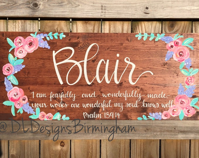Custom floral baby nursery sign over the crib hand lettered hand painted personalized