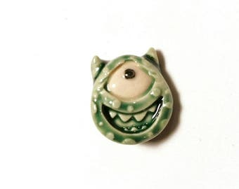 Green Monster Pin, One-eyed Monster, Halloween Pin, Party Favor, Boutonniere, Tie Tack