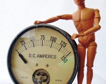 """ON SALE Vintage, Industrial, Steampunk, G.E. Company, Very Large, D.C. Amperes Gauge, 7"""" Diameter, Made in Usa, Industrial Artifacts"""