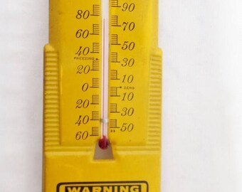 ON SALE Vintage, Advertising, Thermometer, Window Thermometer, N.W. Bell Telephone Co, Warning Underground Cables, Yellow