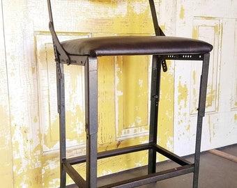 ON SALE Industrial, Drafting Stool, Vintage, 1950's, Machine Age,  Modern, Adjustable, Chair, Steel, Counter Stool, Shop Stool