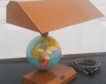 ON SALE 1949, Vintage, World Globe, Desk Lamp, Industrial, Rusty, Tin, Litho, Mid Century, Collectibles, Lighting, Lamp, Office
