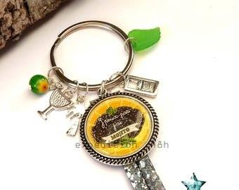Door keys, Mojito, I can't I mojito, yellow, green, summer, drink, holiday, toho, boho, gem cabochon.