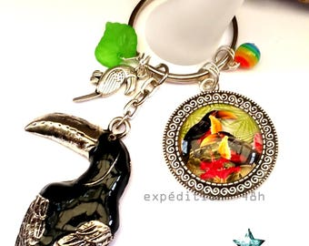 Door keys, jewelry bags, toucan, exotic, tropical, sea, vacation, animals, Bohemian, jewelry cabochon.