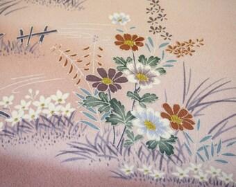 Yuzen Floral Garden Vintage Japanese Tango chirimen silk kimono fabric