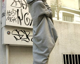 SALE Grey Extravarant Maxi Asymmetric Hoodie / Quilted Cotton Warm  Top A08023