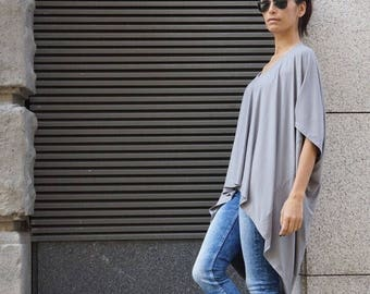 SALE New Oversized Loose Extra Large Light Grey Blouse / Asymmetric Tunic Top A01103