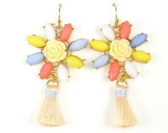 Pastel Flower Earrings, Peach Tassel Dangle Earrings |EB2-36