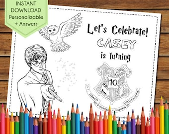 Harry Potter Party Favors, Harry Potter Coloring Pages, Harry Potter Party Games, Birthday Favors, Hogwarts, Hermione, Party Activity Book