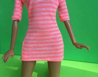 C7 Handmade Barbie Doll Knit Dress -- Tangerine Stripes