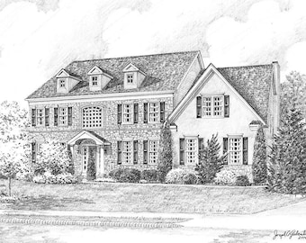 Custom Home Portrait- 11x14 Graphite Pencil Original Your My Home Sketch Drawing Christmas Birthday First Home Anniv Wedd Closing Gifts