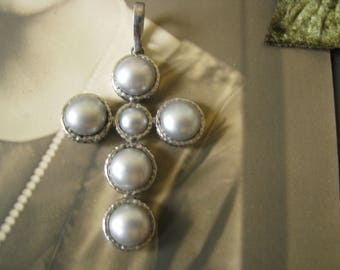 Beautiful 1990s Gothic Italian Silver Sterling Silver Cool Tone Silver Blister Pearl Cross Pendants Signed AE Wedding Jewelry Bridal Jewelry