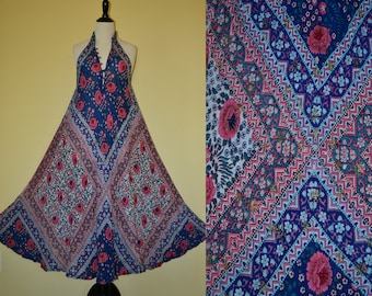 70's India Goddess Sultana Adini floral pink/blue block print metallic gold stamping sheer flowy thin cotton gauze sleeveless Maxi dress O/S