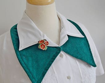 hand made 1930's 1940's green corduroy detachable COLLAR vintage style PREPPY geek forest green one size