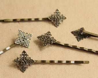 12 pc. Diamond Filigree Bobby Pins, Antique Brass, 17mm pad - FI-383