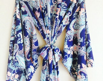 """One readymade """"Noguchi"""" kimono robe in the softest faux silk. Bohemian long womens robe with pockets Valentines day gift US 4-6"""