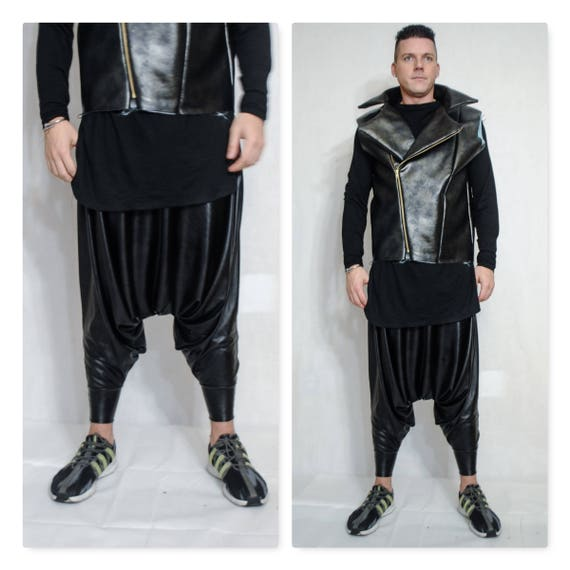 Faux Stretch Leather Latex Coated Jersey (Faux Leather Look) Stretchy One Fabric Unisex Dropped Crotch  Y3 Inspired Harem Pant Drapey