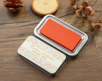 Premium Quality Tin Box Packed Stamp Pad - Rubber Stamp Ink Pad - Stamp Ink - Orange