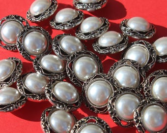 Vintage Plastic Silver Faux Pearl Buttons, Craft Sewing Jewelry Button Lot, 3/4 inch