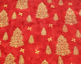 Vintage Abstract Gold Christmas Trees on Red Cotton Fabric, Holiday Quilting Sewing Craft Material Fabric. 1 yard