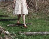 Dress, cream vintage dress, long dress, short sleeve, summer dresses for women, 1950's dress, retro dress, 1990's, pink flowers, ivory dress