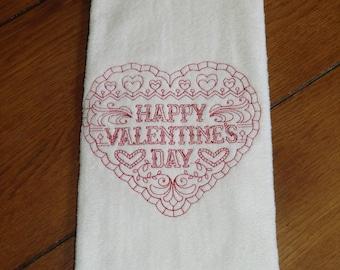 Embroidered Velour Hand Towel - Valentine - Happy Valentine's Day