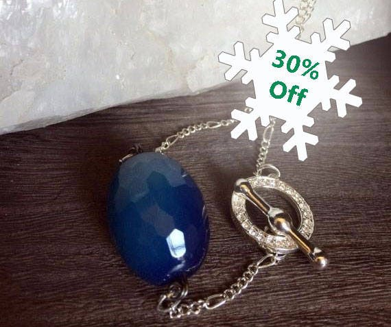 Handmade Blue Agate Necklace Rhinestone Toggle Clasp Crystal Healing Jewelry Healing Stones Any Occasion Jewelry Blue Nugget