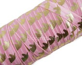 "5/8"" PRINTED Fold Over Elastic - Pink/Gold Unicorn - Printed Elastic -  Unicorn Elastic Fold Over -Pink Elastic -Hair Accessories Supplies"