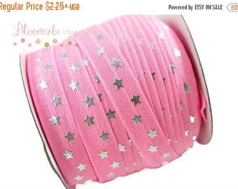 "Summer SALE 10% OFF 5/8"" PRINTED Fold Over Elastic - Pink Silver Stars - Pink Elastic Fold Over - Printed Fold Over Elastic -  Hair Accessor"