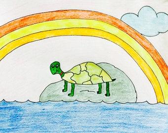 """Original Drawing """"Willie Enjoying the Rock"""""""