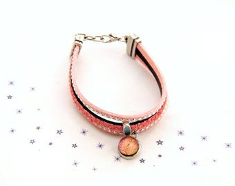 Bracelet leather suede sequin pink powder nude Ribbon fused glass cabochon