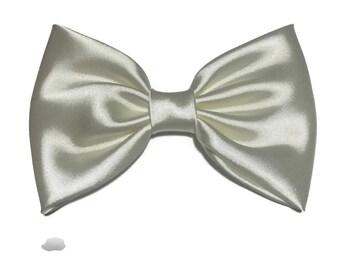 Ivory Hair Bow, Satin Hair Bow Clip, Bows For Women, Kawaii Bows, Handmade Bow, Satin Fabric Bow, Lolita, Big Bow, Baby Girl Bow, ST016