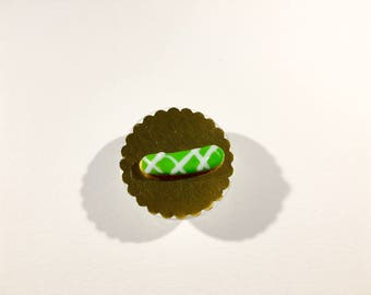 Flash green, striped icing miniature white polymer clay