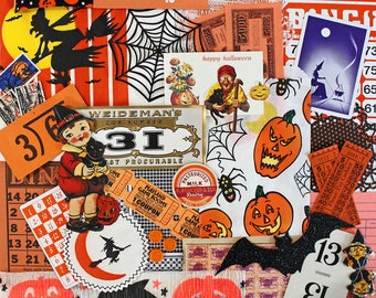 Halloween Inspiration Kit*Orange and Black Paper Pack*Vintage and New Halloween Ephemera Pack*Halloween Paper Crafts