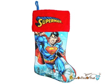 Superman Christmas Stocking - Personalized Embroidered DC Comics Super Hero Clark Kent, Justice League of America, Man of Steel, Add a Name