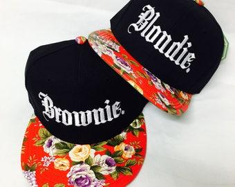 SET SALE- Blondie and Brownie Embroidery Red Flat Bill Floral Black Hat Snapback Flower Rose
