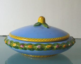 Made in Italy Bitossi Blue  Majolica Covered Ceramic Bowl