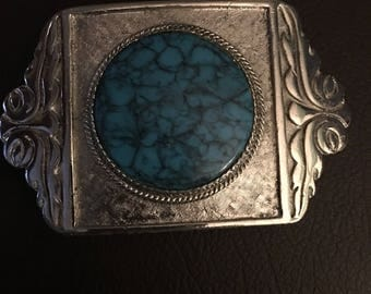 Vintage  turquoise belt buckle...free shipping !!