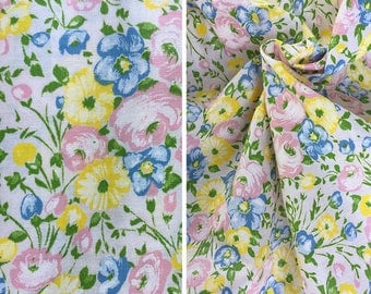 Vintage fabric by the yard | Destash sale vintage pastel floral cotton fabric yardage - price is per yard