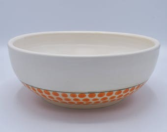 Low Serving Bowl with Orange Polka Dots