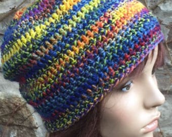 Crochet Hand Spun Shetland Wool Hat in Rainbow Colours