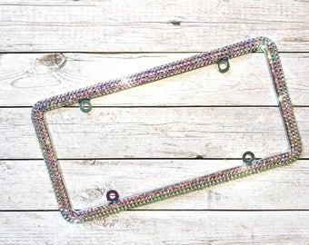 Bling license plate frame- crystal license plate- custom license plate- bling car accessories- crystal car parts- sparkly license plate-