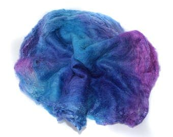 SILK HANKIES - Hand Dyed - Mawata squares -Mulberry silk - 10g - purple - turquoise