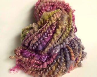 Art yarn, textured wool, chunky handspun, lock yarn, merino and wensleydale yarn, magenta pink, greens and purples, lock yarn, doll hair