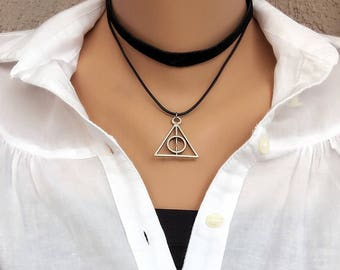 Triangle Necklace, Leather Necklace, Trendy Cool , Antique Silver, Smart Jewelry, Kids Jewelry, Choker, Valentines Gifts, Birthday Gift,