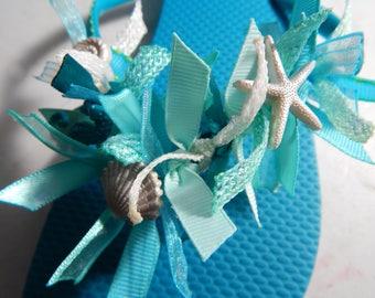 SEASHELLS for WANNABE MERMAIDS---Ladies Flip Flops