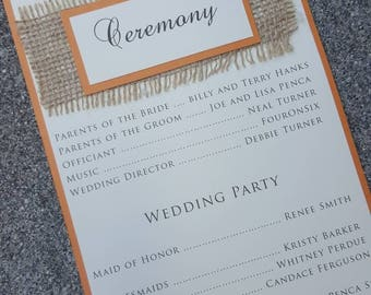 Fall Wedding Program - rustic wedding -burlap wedding - fall program - rustic country wedding - wedding program- burlap wedding program