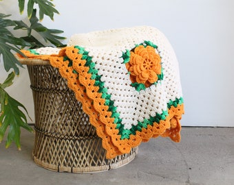 Vintage Handmade Crochet Afghan/Throw/Blanket With 3D Flowers